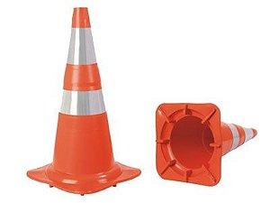 Cone de Sinalização de 75cm Reletivo Laranja e Branco com Base Emborrachada Norma 15071 - Plastcor