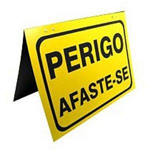 "Placa de PVC ""Perigo Afasta-se"" - Plastcor"