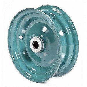 Roda para Carrinho de Mão Azul Rolete Chapa 13 - Metalpama