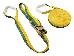 Kit Slackline Brasil Verde E Amarelo Cinta 15 Metros X 50mm