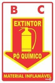 Placa 20 X 30 F.L Extintor Pó Quimico - Encartale