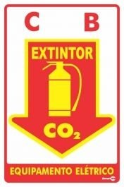 Placa 20 X 30 F.L Extintor C.O2 - Encartale