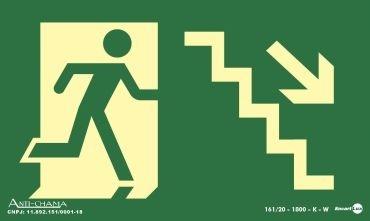 Placa15 X 25 F.L Saida Escada Descida Direita - Encartale