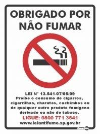 Placa 15 X 20 Obrigado por Não Fumar - Encartale