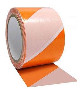 Fita Zebrada para Sinalização Laranja / Branco de 7cm x 200 metros - Plastcor