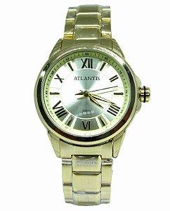 dd090691da7 RELOGIO ATLANTIS FEMININO B3445 DOURADO FUNDO BRANCO - Atlantis Relógios