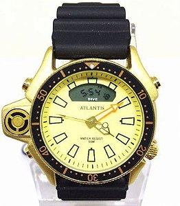 506e5e9f504 Relogio Masculino Atlantis G3220 Borracha Fundo Dourado