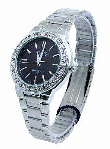 2aa40ecf38c RELOGIO ATLANTIS FEMININO B3380 PRATA FUNDO PRETO - Atlantis Relógios