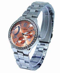800d81f6ccb RELOGIO FEMININO ATLANTIS B652G PRATA FUNDO BRANCO - Atlantis Relógios