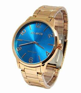 01b0e837726 RELOGIO FEMININO ATLANTIS G3505 ROSE FUNDO AZUL - Atlantis Relógios