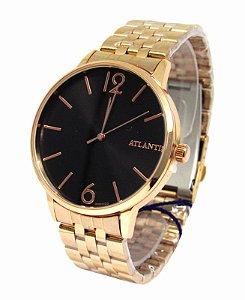 0a148cf922f RELOGIO FEMININO ATLANTIS G3505 ROSE FUNDO PRETO - Atlantis Relógios