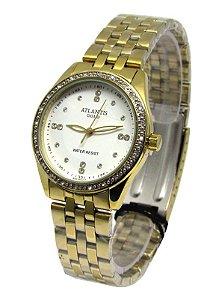 878392facb7 RELOGIO ATLANTIS FEMININO B3437 DOURADO FUNDO BRANCO - Atlantis Relógios