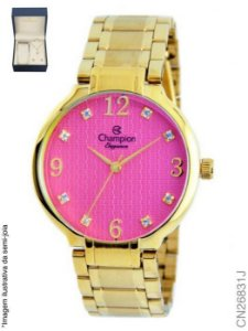 bd6ae4af7d9 Relógio Champion Feminino Dourado + Semi Joias CN26831J Rosa