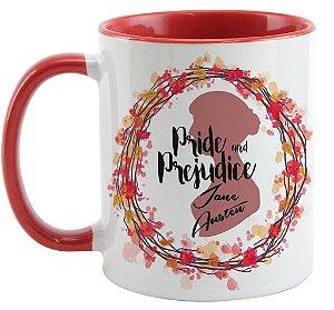Caneca - Frase -  Jane Austen - Pride e Prejudice - Happy