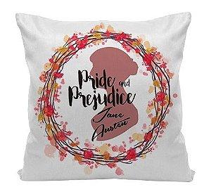 Almofada - Frase - Jane Austen - Pride and Prejudice - Happy