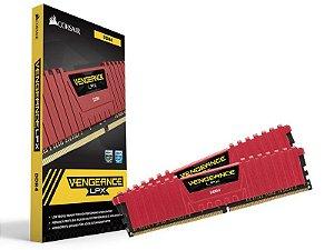 Memória Desktop Gamer Ddr4 Corsair 8Gb Kit (2X4Gb) 3000Mhz Red