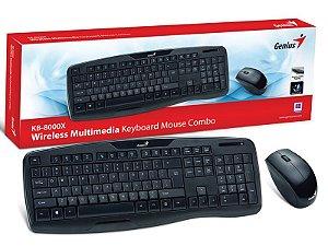 Kit Teclado E Mouse Wireless Genius Kb-8000X Usb 2.4 Ghz 1200Dpi