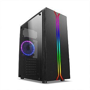 Gabinete Gamer Mid Liketec Rainbow RGB, Lateral em Vidro Temperado