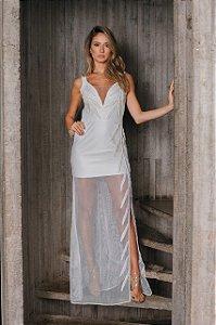 VS00149 - Vestido de trama bordada
