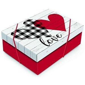 CAIXA RETANGULAR COM TAMPA - LOVE - 24X18X8 - 01 UNIDADE - CROMUS