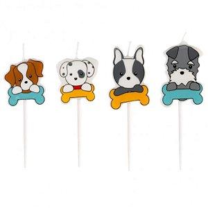 VELA DE ANIVERSÁRIO FESTA PET DOGS - COM  4 UNIDADES -  SILVER FESTAS