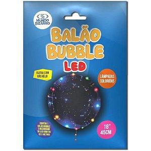 """BALÃO BUBBLE COM LED COLORIDO - 18"""" POLEGADAS 45CM  - COM 01 UNIDADE - MUNDO BIZARRO"""
