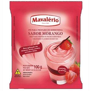PÓ PARA PREPARO DE SOBREMESAS - SABOR MORANGO - 100G - 01 UNIDADE - MAVALÉRIO