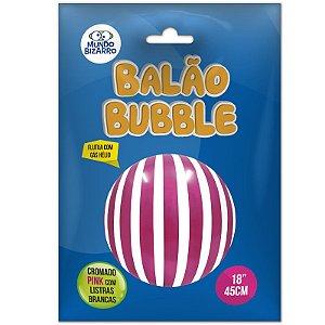 """BALÃO BUBBLE  CROMADO PINK COM LISTRAS BRANCAS - 18"""" 45 CM - COM 01 UNIDADE - MUNDO BIZARRO"""
