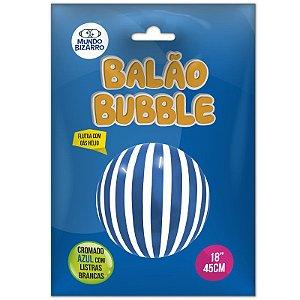 """BALÃO BUBBLE  CROMADO AZUL COM LISTRAS BRANCAS - 18"""" 45 CM - COM 01 UNIDADE - MUNDO BIZARRO"""