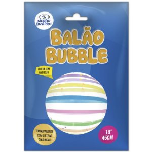 """BALÃO BUBBLE TRANSPARENTE COM LISTRAS COLORIDAS  - 18"""" 45 CM - COM 01 UNIDADE - MUNDO BIZARRO"""