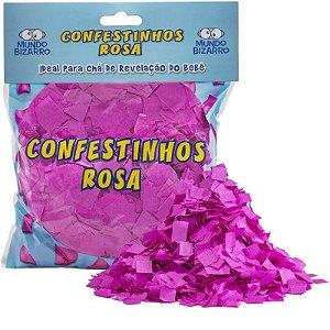 CONFETE DE PAPEL CHÁ REVELAÇÃO ROSA   - COM  120G - MUNDO BIZARRO