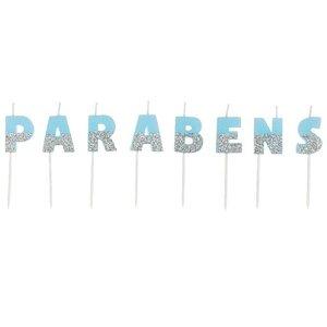 VELA DE ANIVERSÁRIO  PARABÉNS AZUL PRATA  - COM 01 UNIDADE  - SILVER FESTAS