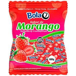 BALA MASTIGÁVEL SABOR MORANGO  BOLA7 - 600G COM APROX. 100 UNIDADES - RICLAN