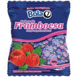 BALA MASTIGÁVEL FRAMBOESA  BOLA7  - 600G COM APROX. 100 UNIDADES - RICLAN