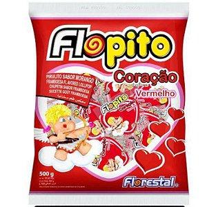 PIRULITO  CORAÇÃO SABOR MORANGO- VERMELHO  - 500G  - FLORESTAL