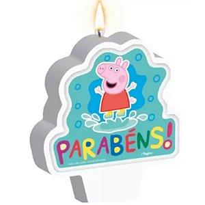 VELA DE ANIVERSÁRIO FESTA  PEPPA PIG CLÁSSICA - COM  01 UNIDADE - REGINA FESTAS