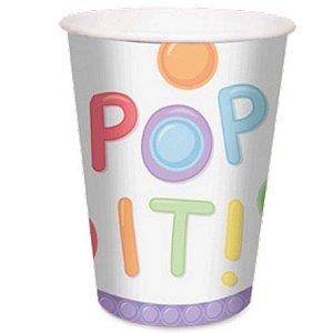 COPO PAPEL FESTA POP IT FIDGET TOYS 240ML - COM  8 UNIDADES - CROMUS