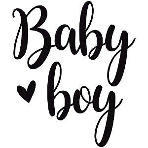"TRANSFER PARA BALÃO LETTERING PRETO - BABY BOY - TAM P 12"" A 18"" - 01 UNIDADE - CROMUS BALLOONS"