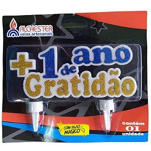 VELA DE ANIVERSÁRIO ¨+1 ANO DE GRATIDÃO¨ COM GLITTER - CONTÉM 1 UNIDADE - ALCHESTER