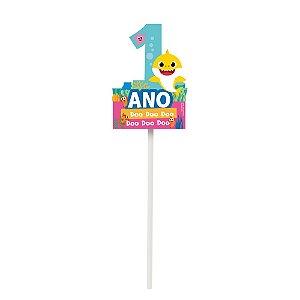 TOPO DE BOLO 1 ANO FESTA BABY SHARK - 1 UNIDADE - CROMUS
