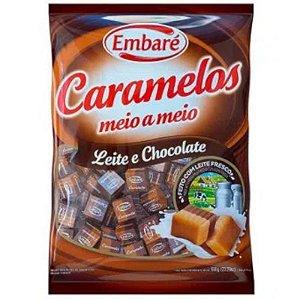 BALA CARAMELO MEIO A MEIO LEITE E CHOCOLATE -  660 G - EMBARÉ