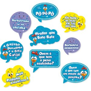 KIT PLACAS DECORATIVAS GALINHA PINTADINHA 09 UNIDADES - FESTCOLOR