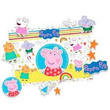 KIT DECORATIVO FESTA PEPPA PIG BABY - 01 PAINEL 64CM X 45 CM - 01 FOLHA COM PERSONAGENS DESTACÁVEIS - REGINA FESTAS