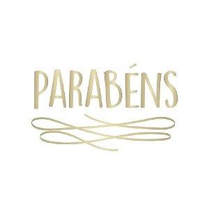 """TRANSFER PARA BALÃO PARABÉNS  - OURO G  - 20"""" A 36"""" - CROMUS BALLOONS"""