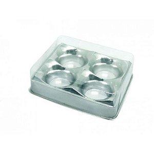 CANDY BOX PRATA METALIZADO COM 04 CAVIDADES - 10 UNIDADES - FLIP