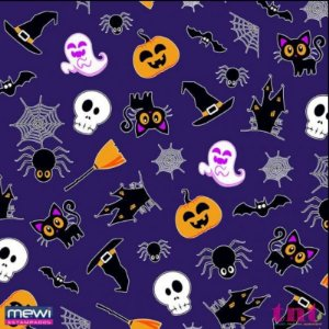 TNT HAPPY HALLOWEEN - FUNDO ROXO - 2 METROS  - MEWI  ESTAMPADOS