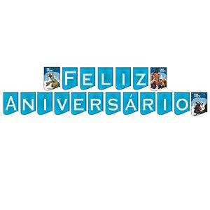 FAIXA FELIZ ANIVERSÁRIO FESTA A ERA DO GELO 4 - 0,21 M X 2,75 M - 01 UNIDADE - FESTCOLOR