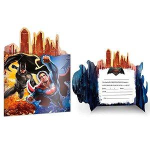 CONVITE DE ANIVERSÁRIO FESTA BATMAN VS SUPERMAN - CONTÉM 08 UNIDADES - FESTCOLOR
