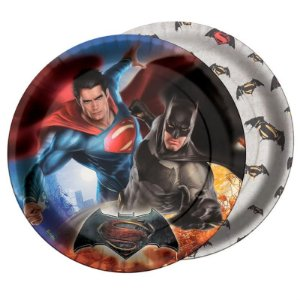 PRATO DESCARTÁVEL FESTA  BATMAN VS SUPERMAN - CONTÉM 08 UNIDADES - FESTCOLOR