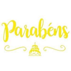 """TRANSFER PARA BALÃO - PARABÉNS BOLO OURO G  - 20"""" A 36"""" - CROMUS BALLOONS"""